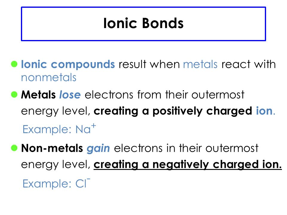 IONIC BOND bond formed between two ions by the gain or loss of electrons