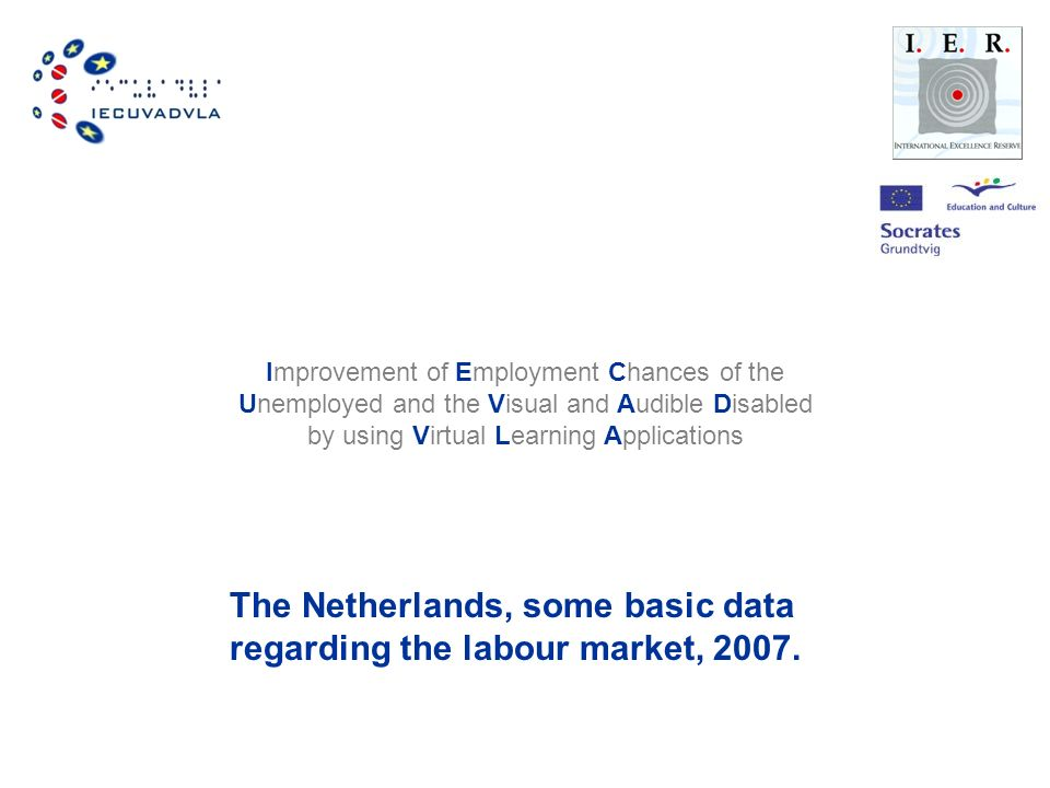 Improvement of Employment Chances of the Unemployed and the Visual and Audible Disabled by using Virtual Learning Applications The Netherlands, some basic data regarding the labour market, 2007.