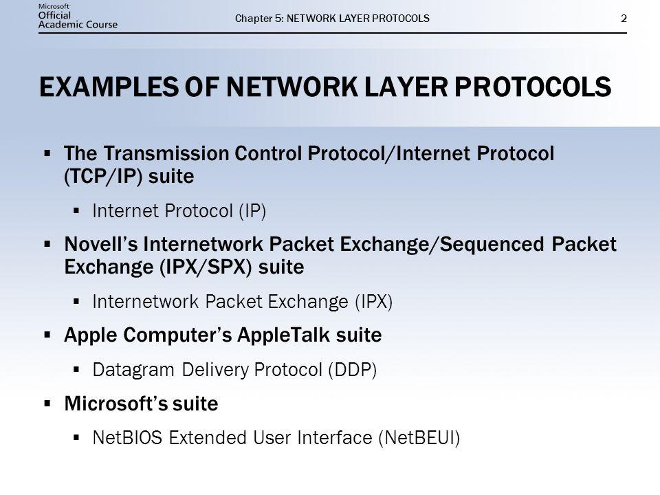 11 NETWORK LAYER PROTOCOLS Chapter 5 IP IPX NetBEUI