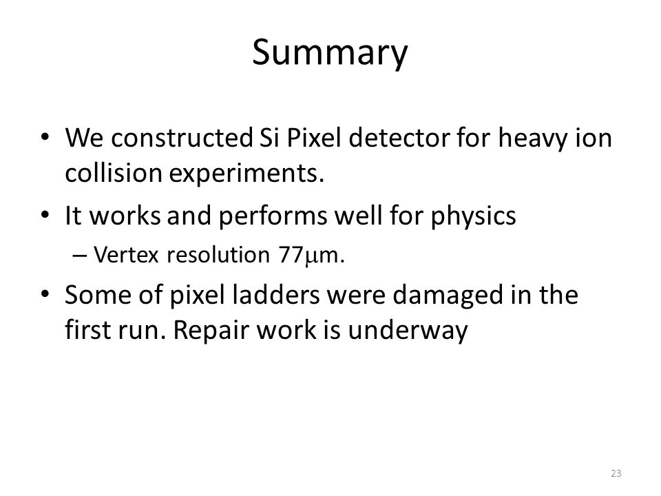 Summary We constructed Si Pixel detector for heavy ion collision experiments.