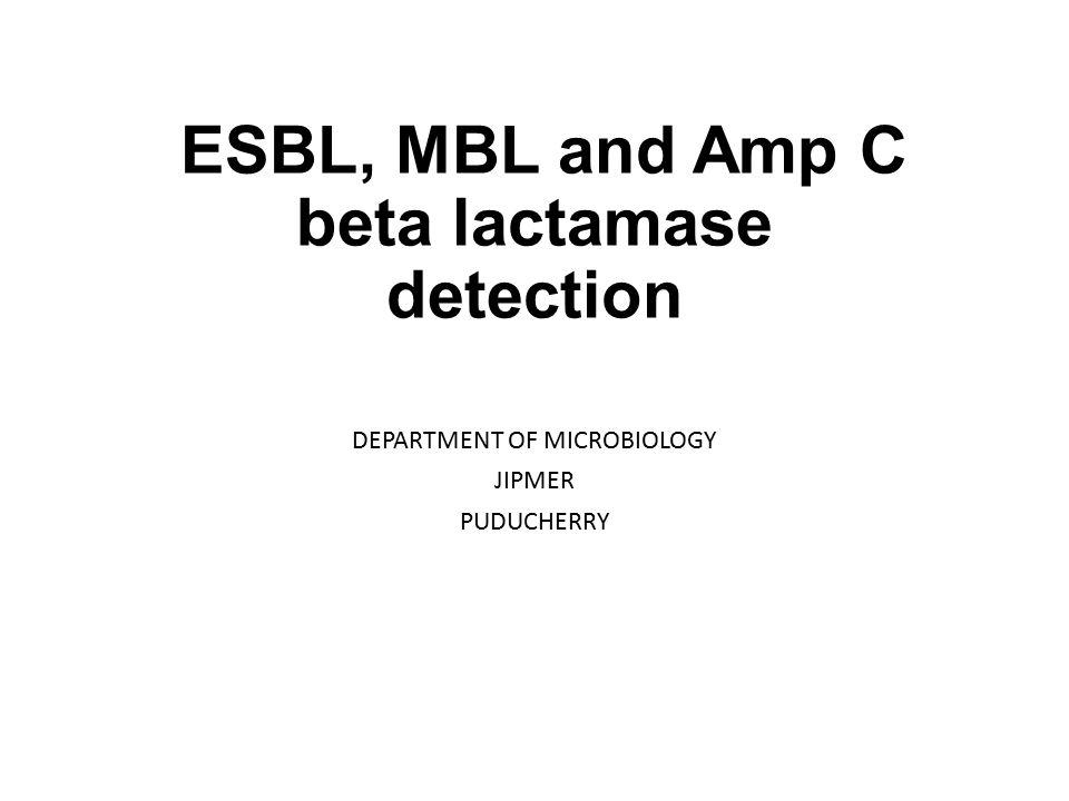 ESBL, MBL and Amp C beta lactamase detection DEPARTMENT OF