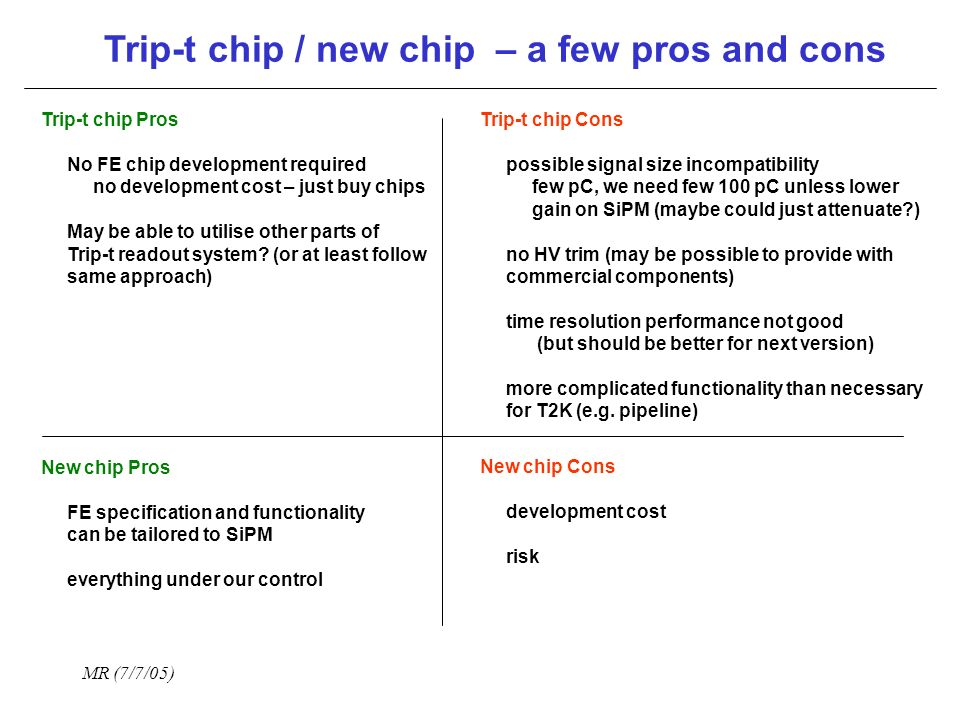 MR (7/7/05) Trip-t chip / new chip – a few pros and cons Trip-t chip Pros No FE chip development required no development cost – just buy chips May be able to utilise other parts of Trip-t readout system.