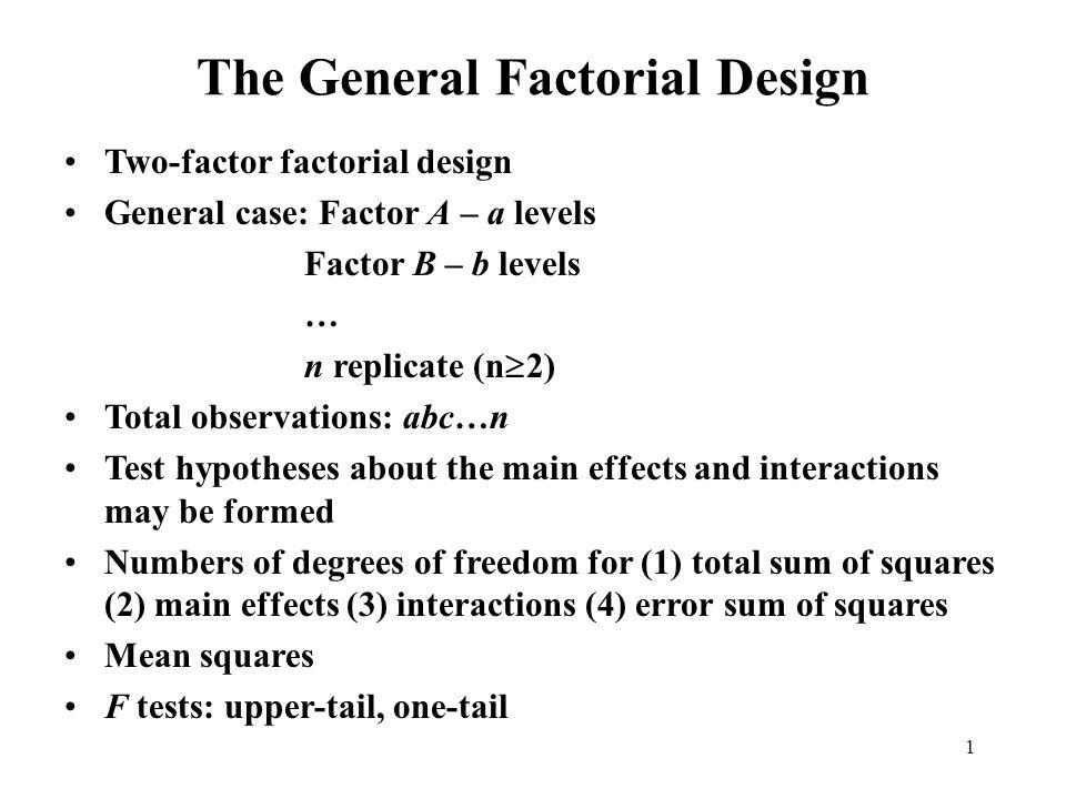 1 The General Factorial Design