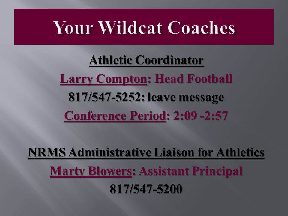 Welcome to Wildcat Athletics  Boys Coaches and Assignments