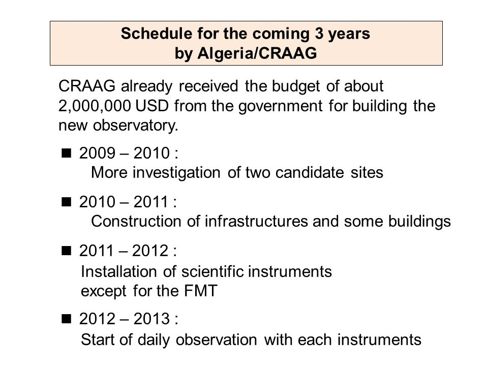 Schedule for the coming 3 years by Algeria/CRAAG CRAAG already received the budget of about 2,000,000 USD from the government for building the new observatory.