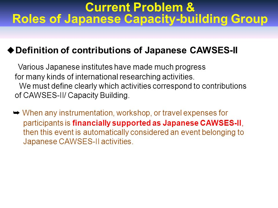 Current Problem & Roles of Japanese Capacity-building Group ◆ Definition of contributions of Japanese CAWSES-II Various Japanese institutes have made much progress for many kinds of international researching activities.