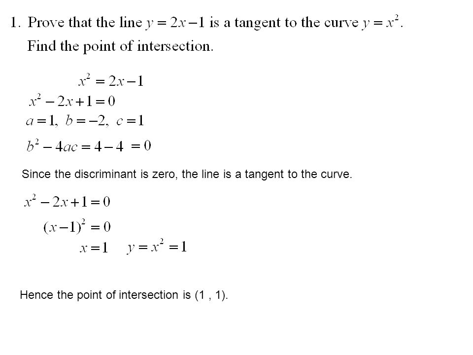 Since the discriminant is zero, the line is a tangent to the curve.
