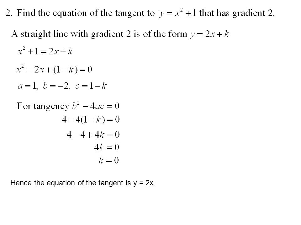Hence the equation of the tangent is y = 2x.