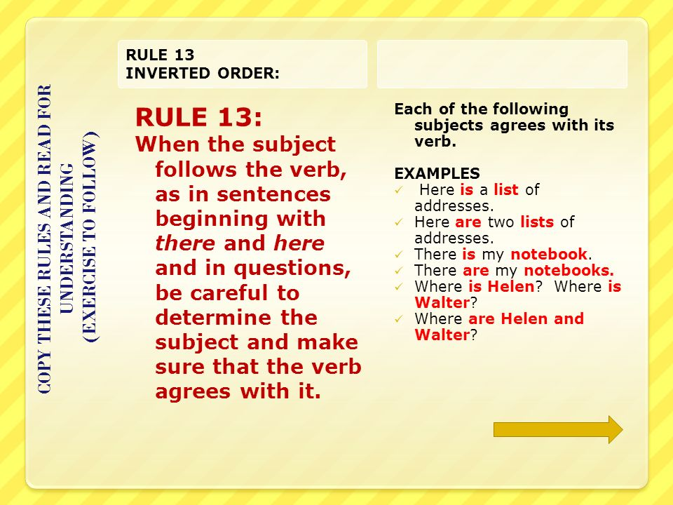 Copy These Rules And Complete The Exercise Agreement Rule 1 When A
