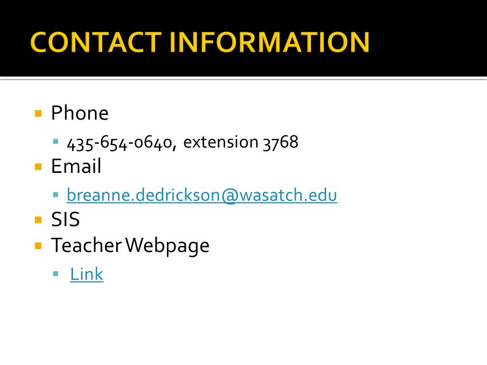 wasatch sis Phone  , extension 3768    SIS  Teacher Webpage ...