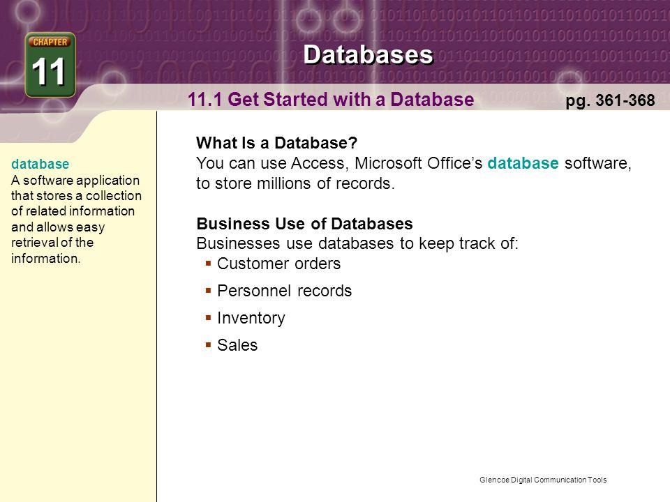 Glencoe Digital Communication Tools Databases Chapter