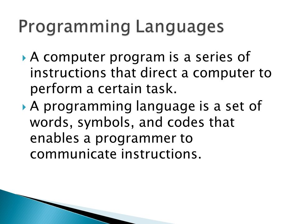 Programming Languages 107a A Computer Program Is A Series Of