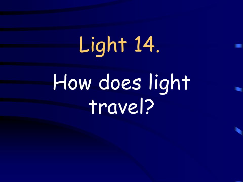 Light 14. How does light travel
