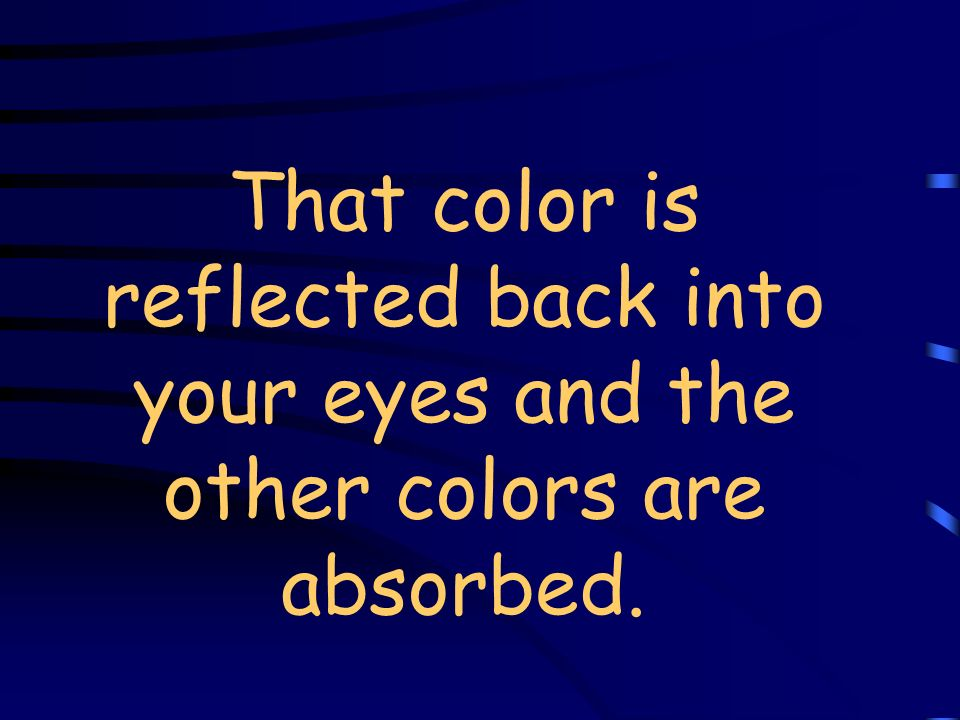 That color is reflected back into your eyes and the other colors are absorbed.