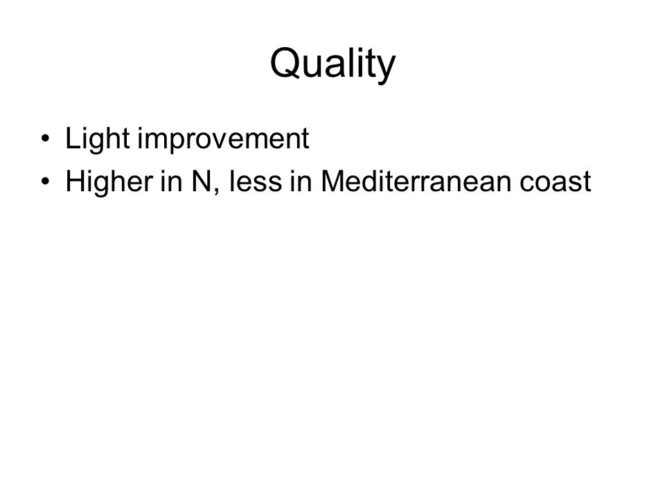Quality Light improvement Higher in N, less in Mediterranean coast