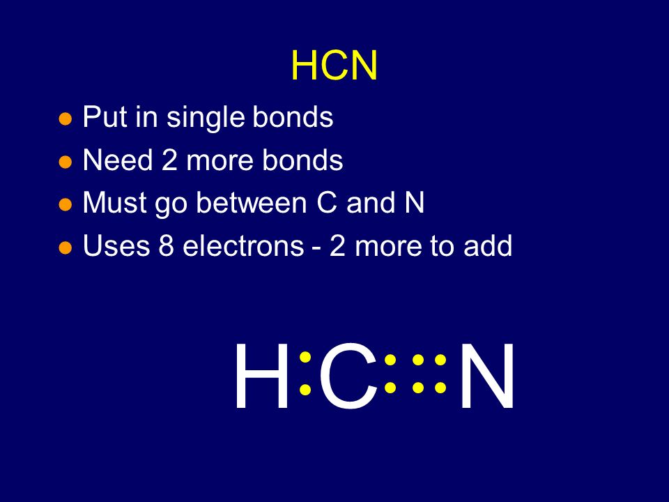 HCN Put in single bonds Need 2 more bonds Must go between C and N NHC