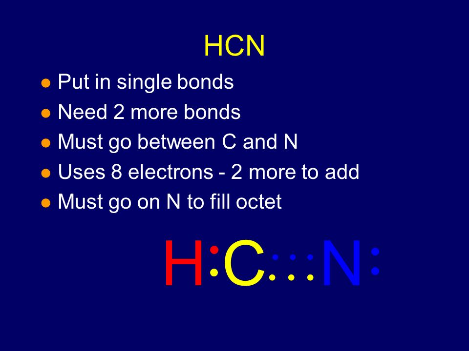 HCN l Put in single bonds l Need 2 more bonds l Must go between C and N l Uses 8 electrons - 2 more to add NHC