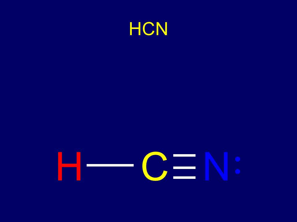 HCN l Put in single bonds l Need 2 more bonds l Must go between C and N l Uses 8 electrons - 2 more to add l Must go on N to fill octet NHC … …
