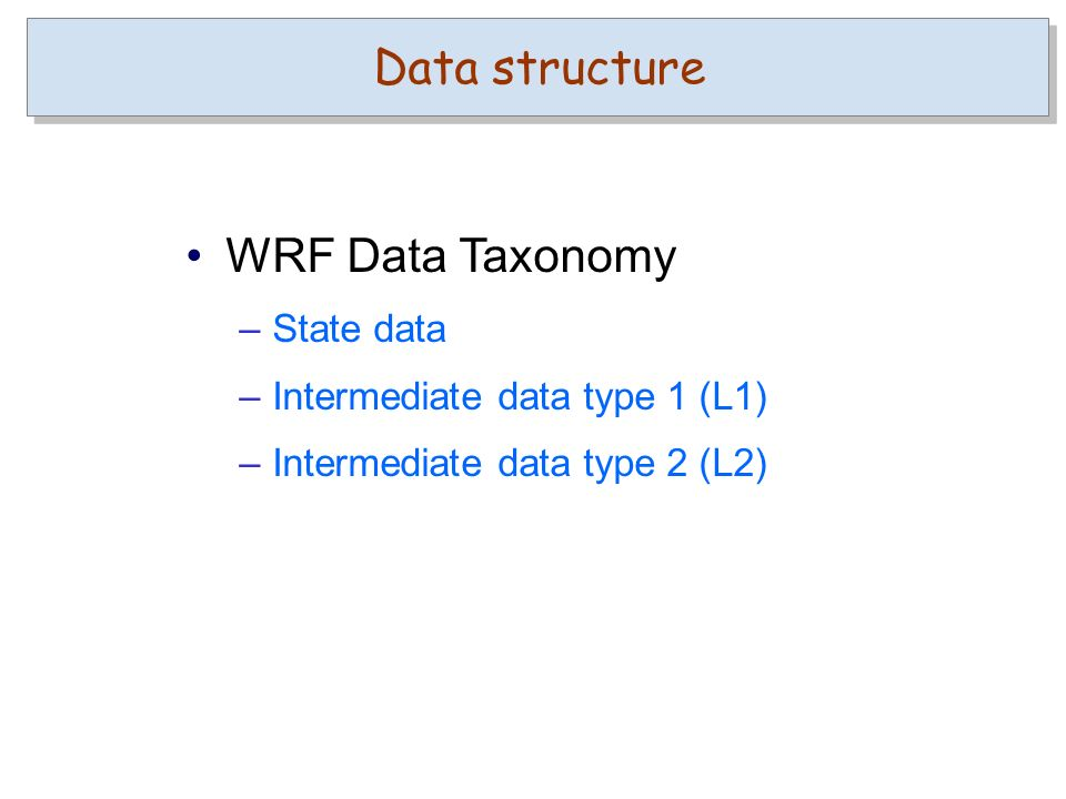 Data structure WRF Data Taxonomy –State data –Intermediate data type 1 (L1) –Intermediate data type 2 (L2)