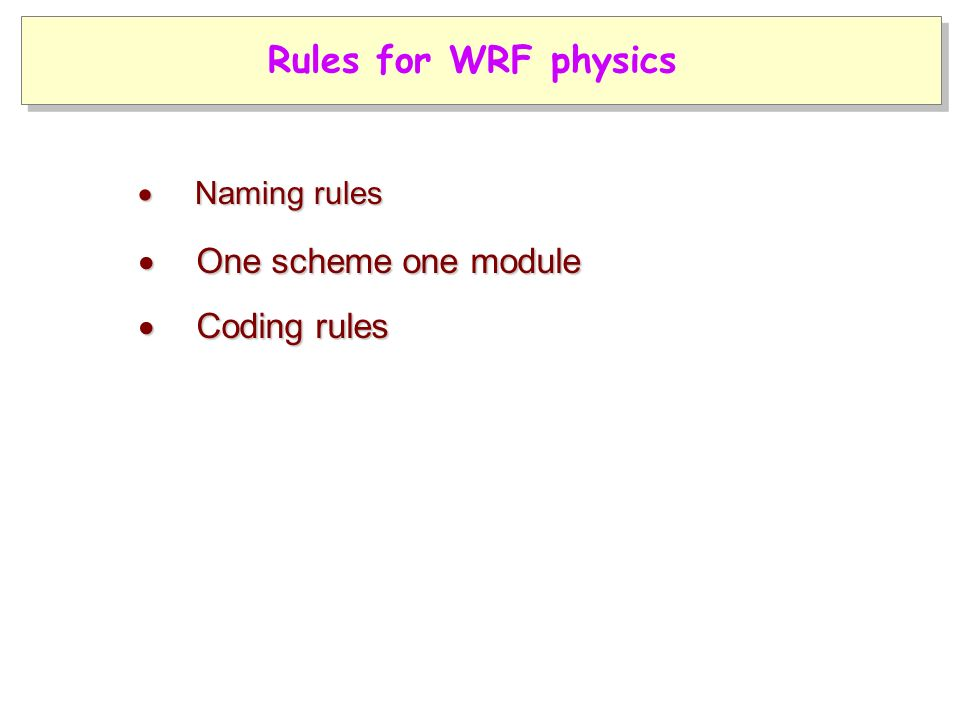  Coding rules  One scheme one module  Naming rules Rules for WRF physics