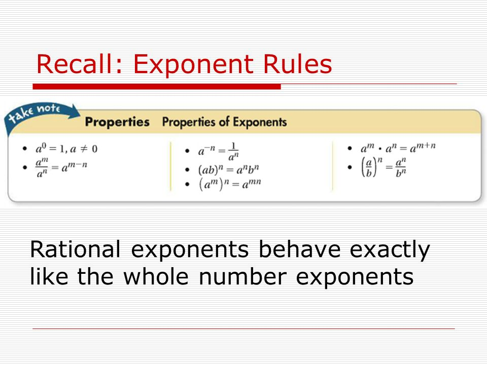 Recall: Exponent Rules Rational exponents behave exactly like the whole number exponents