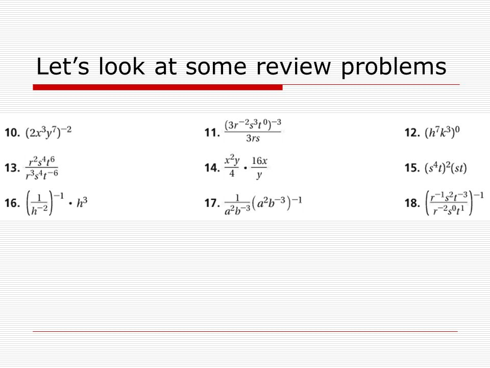 Let's look at some review problems
