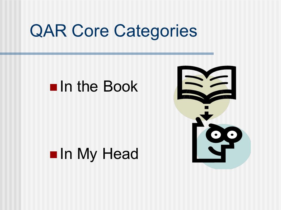 QAR Core Categories In the Book In My Head
