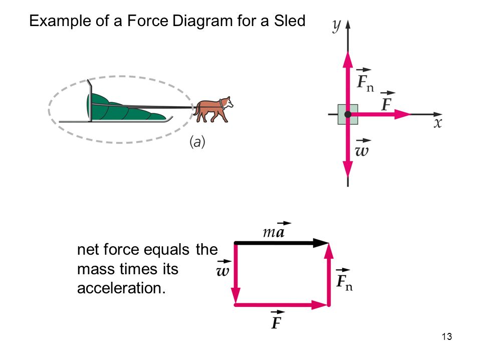 13 Example of a Force Diagram for a Sled net force equals the mass times its acceleration.