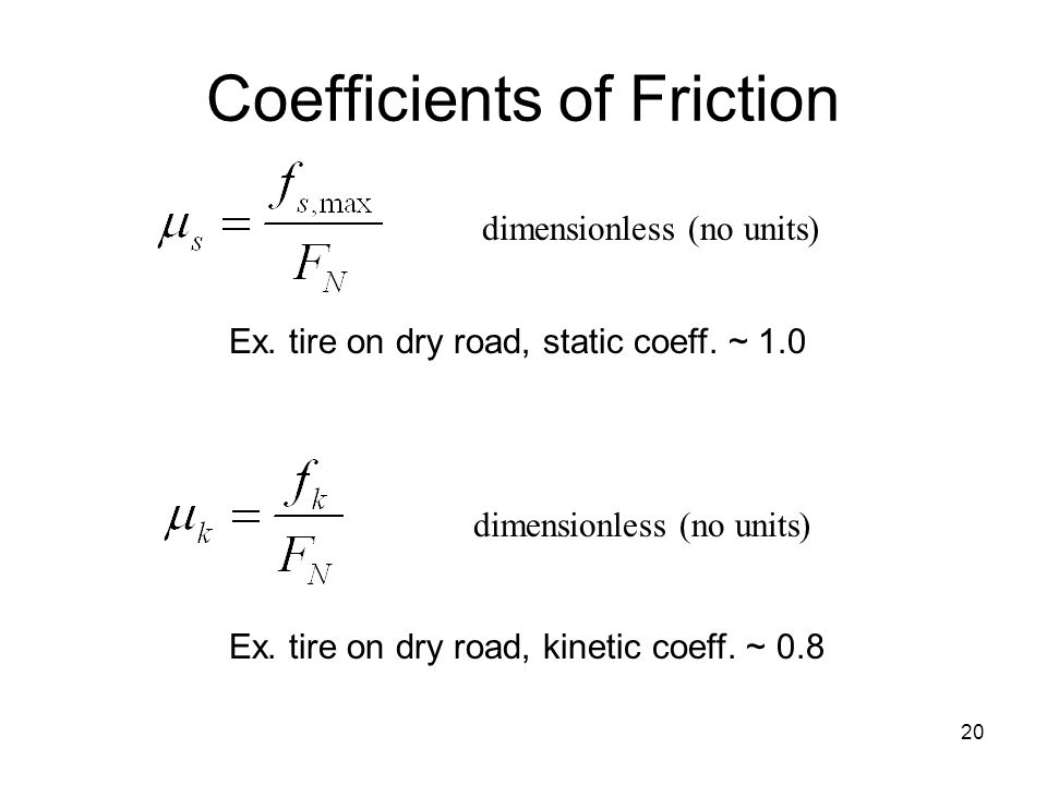 20 Coefficients of Friction dimensionless (no units) Ex.