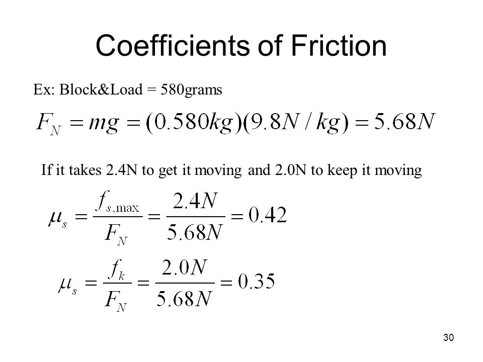 30 Coefficients of Friction Ex: Block&Load = 580grams If it takes 2.4N to get it moving and 2.0N to keep it moving