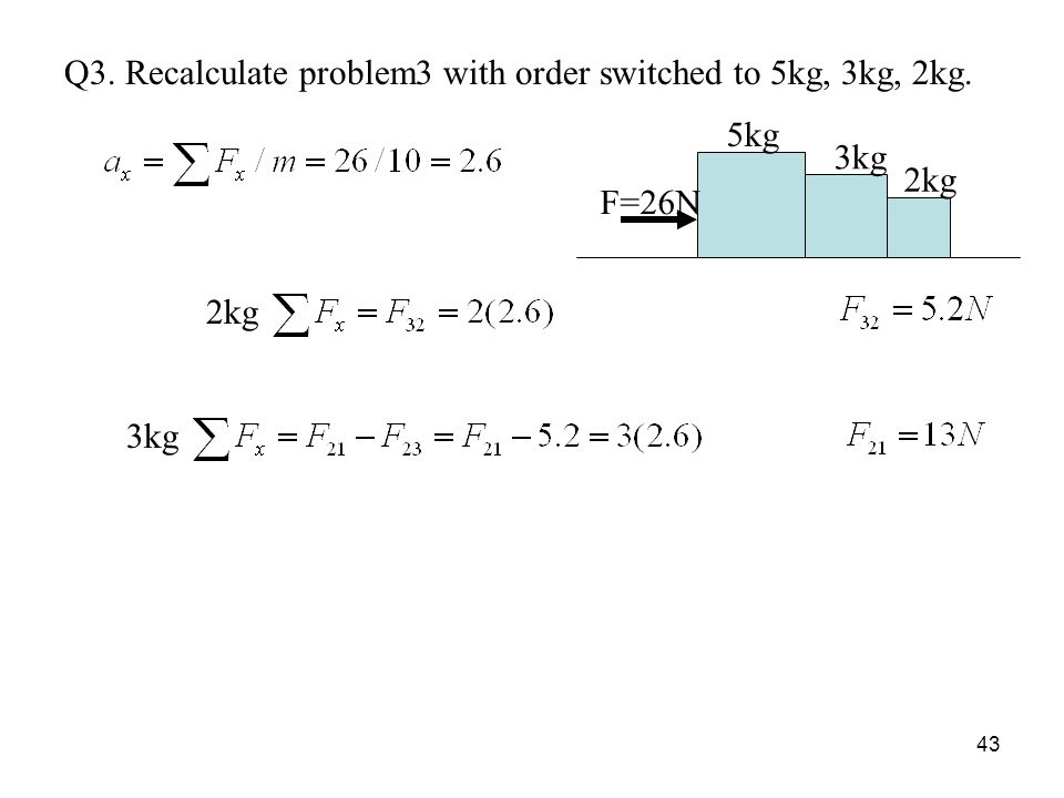 43 Q3. Recalculate problem3 with order switched to 5kg, 3kg, 2kg. F=26N 3kg 5kg 2kg 3kg