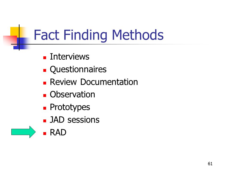 61 Fact Finding Methods Interviews Questionnaires Review Documentation Observation Prototypes JAD Sessions RAD