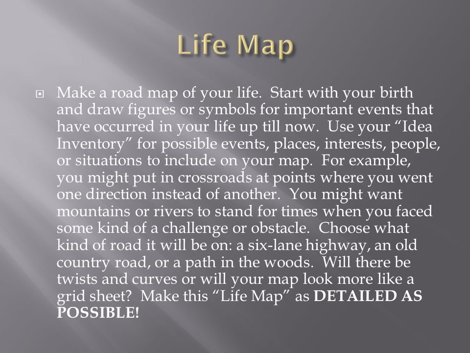 Ms Delp English 9 Make A Road Map Of Your Life Start With Your