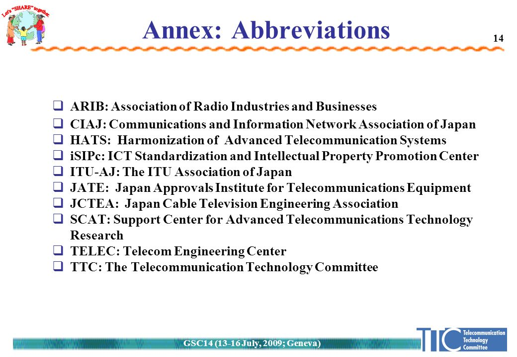 14 Annex: Abbreviations  ARIB: Association of Radio Industries and Businesses  CIAJ: Communications and Information Network Association of Japan  HATS: Harmonization of Advanced Telecommunication Systems  iSIPc: ICT Standardization and Intellectual Property Promotion Center  ITU-AJ: The ITU Association of Japan  JATE: Japan Approvals Institute for Telecommunications Equipment  JCTEA: Japan Cable Television Engineering Association  SCAT: Support Center for Advanced Telecommunications Technology Research  TELEC: Telecom Engineering Center  TTC: The Telecommunication Technology Committee