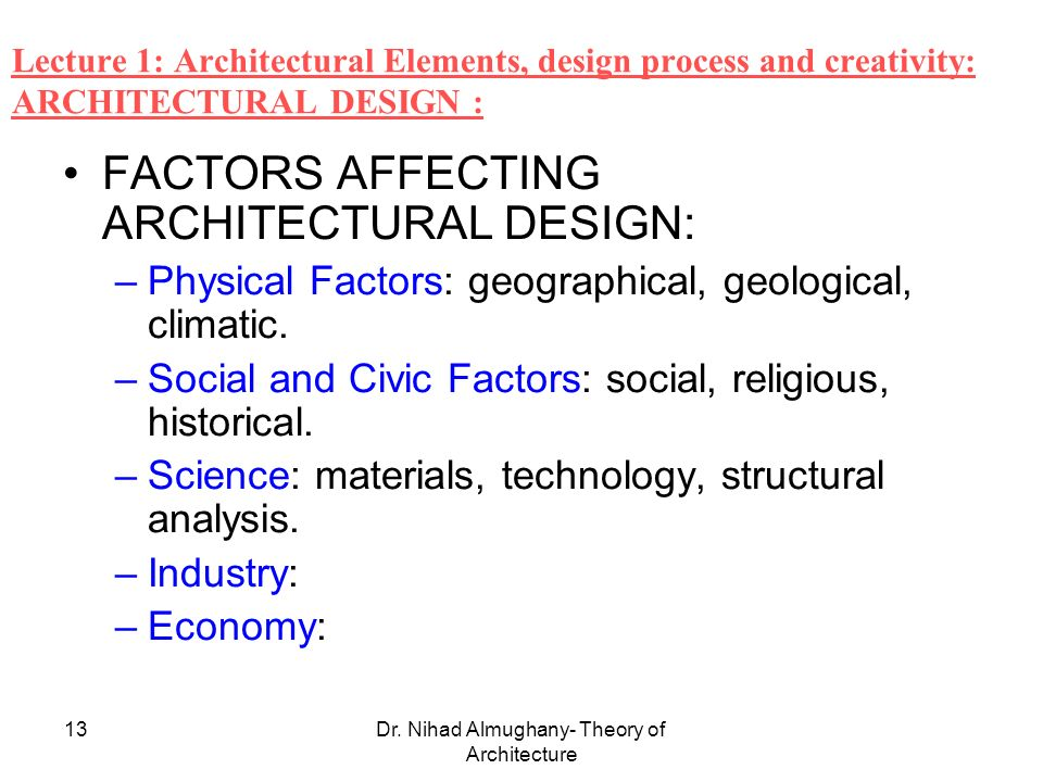 Dr Nihad Almughany Theory Of Architecture 1 Dr Nihad Almughany University Of Palestine Faculty Of Applied Engineering And Urban Planning Dept Of Architecture Ppt Download