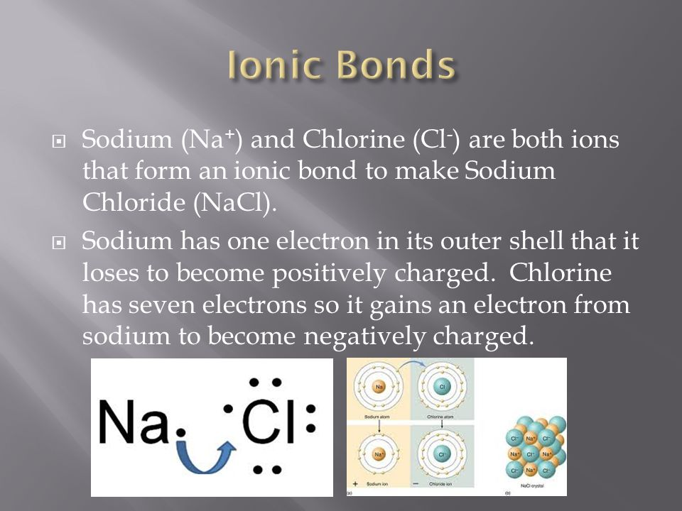  Sodium (Na + ) and Chlorine (Cl - ) are both ions that form an ionic bond to make Sodium Chloride (NaCl).