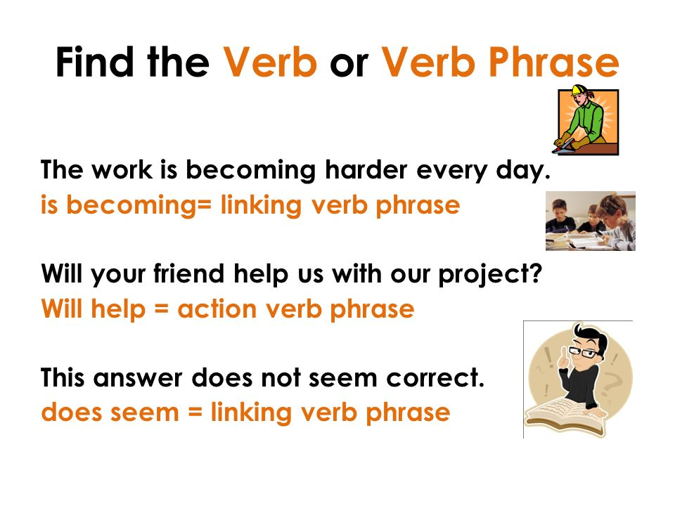 Find the Verb or Verb Phrase The work is becoming harder every day.