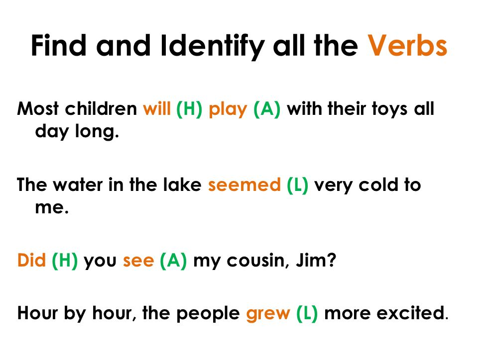 Find and Identify all the Verbs Most children will (H) play (A) with their toys all day long.
