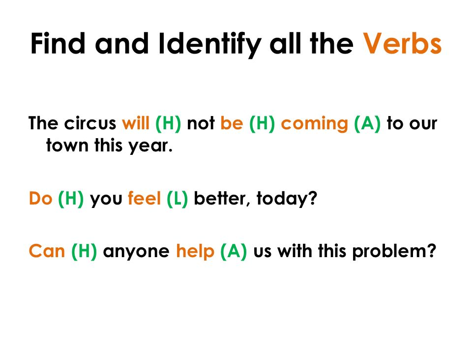 Find and Identify all the Verbs The circus will (H) not be (H) coming (A) to our town this year.