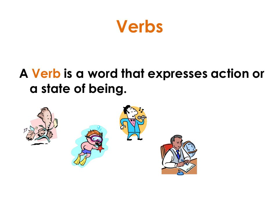 Verbs A Verb is a word that expresses action or a state of being.