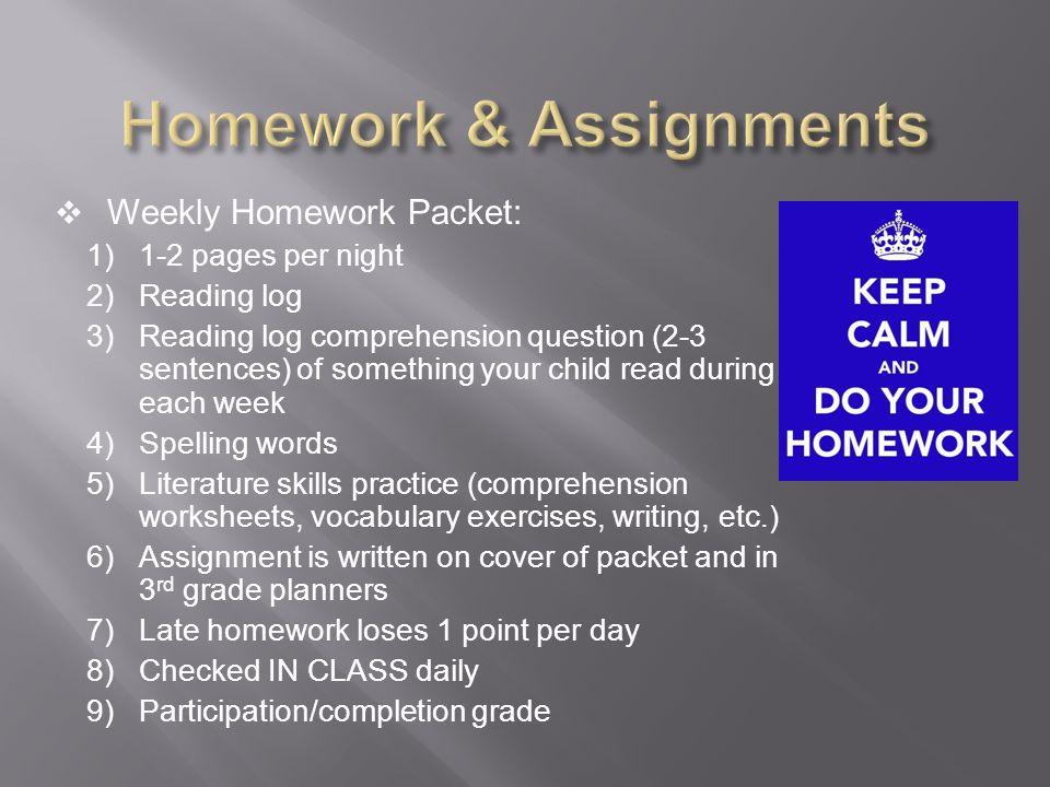 3rd grade reading homework packet