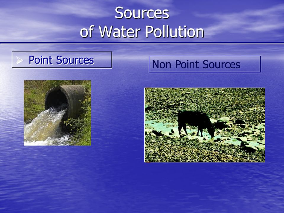 Sources of Water Pollution  Point Sources Non Point Sources