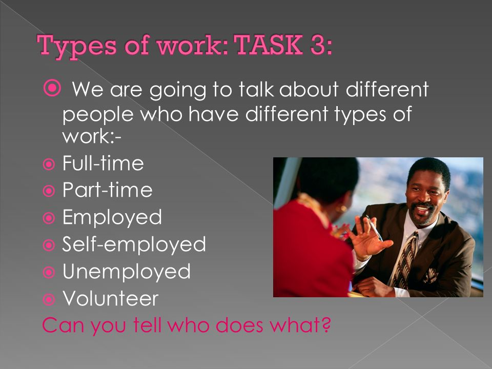  We are going to talk about different people who have different types of work:-  Full-time  Part-time  Employed  Self-employed  Unemployed  Volunteer Can you tell who does what