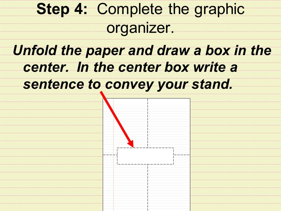 Step 4: Complete the graphic organizer. Unfold the paper and draw a box in the center.
