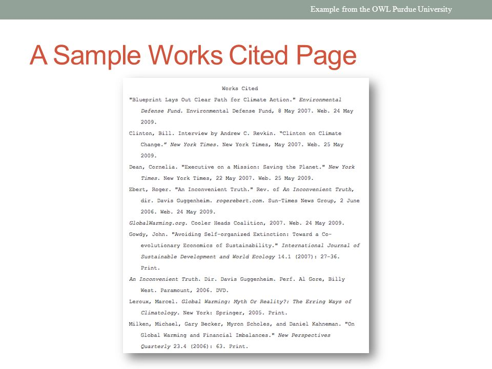 A Sample Works Cited Page Example from the OWL Purdue University