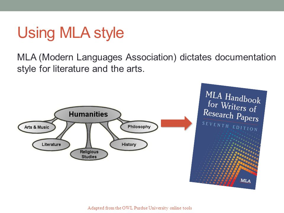 Using MLA style MLA (Modern Languages Association) dictates documentation style for literature and the arts.