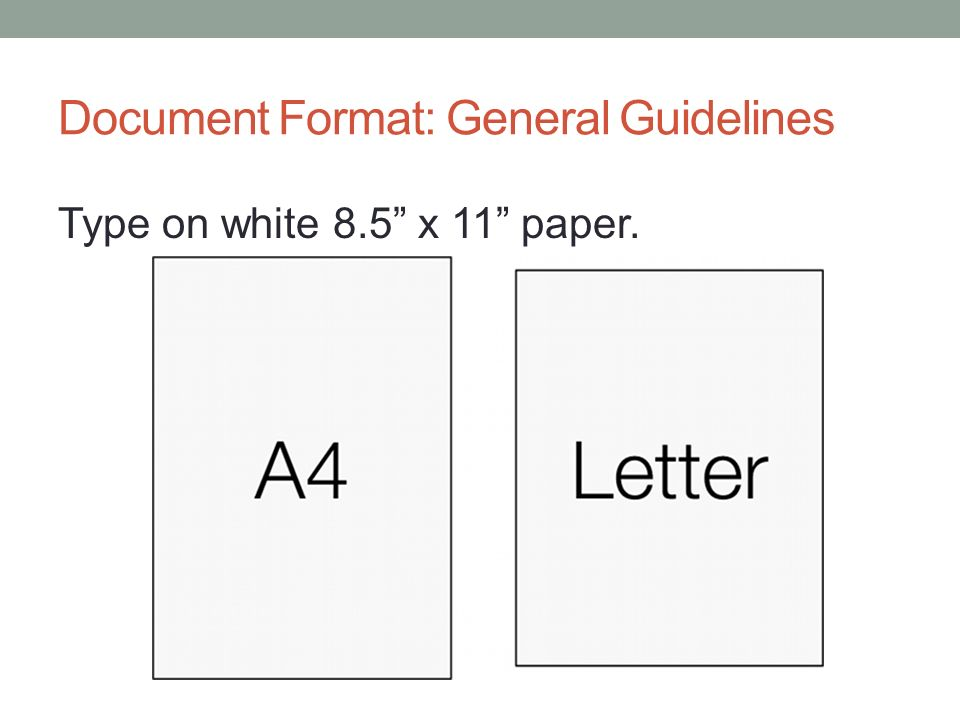 Document Format: General Guidelines Type on white 8.5 x 11 paper.
