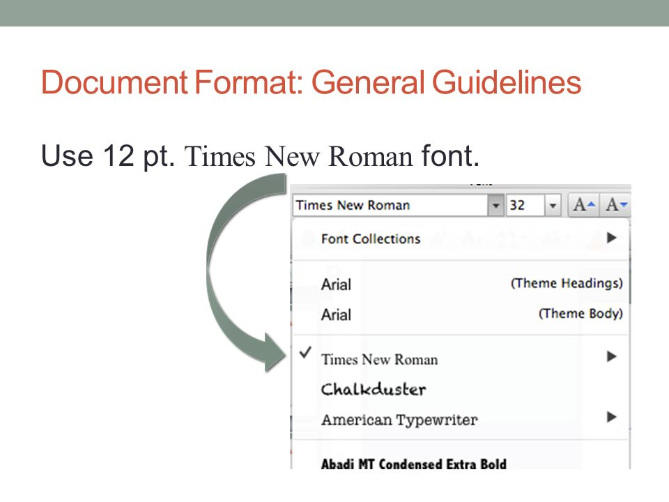 Document Format: General Guidelines Use 12 pt. Times New Roman font.