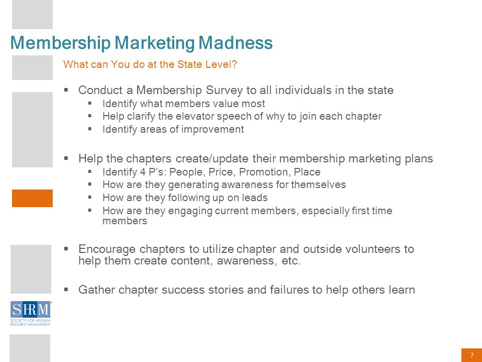 7 Membership Marketing Madness What can You do at the State Level.