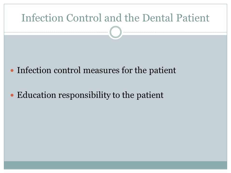 Infection Control and the Dental Patient Infection control measures for the patient Education responsibility to the patient